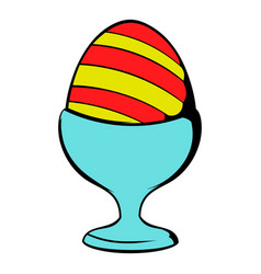 easter egg on a stand icon icon cartoon vector image