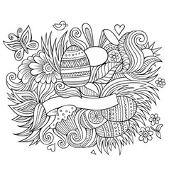 easter hand drawn cartoon doodles vector image