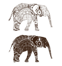 Elephant with oriental patterns vector