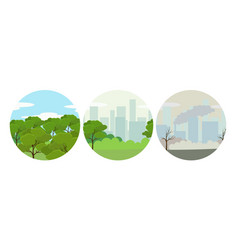 environmental conservation icons landscape with vector image