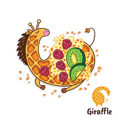 fancy waffle dessert in the form of a giraffewith vector image