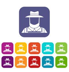 Farmer icons set vector
