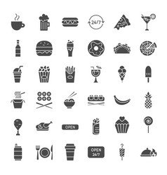 fast food solid web icons vector image