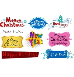 Festive Christmas inscriptions vector image