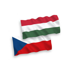 Flags czech republic and hungary on a white vector