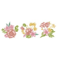 Flower bouquet pastel almond poppy vector
