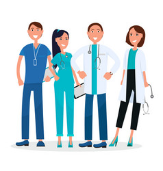 Four medical workers standing and smiling graphic vector