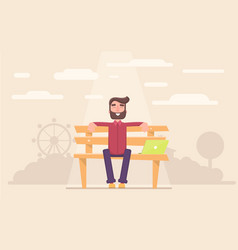 Freelancer happy sitting in the park taking a vector