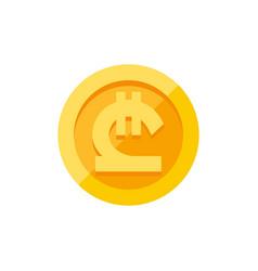 Georgian lari symbol on gold coin flat style vector