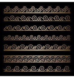Gold wavy borders vector