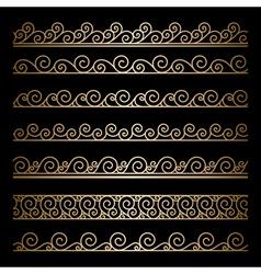 Gold wavy borders vector