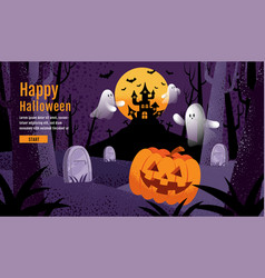 halloween background with pumpkin ghost castle vector image