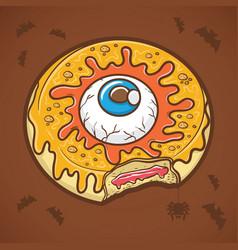halloween donut with eye and yellow slime vector image