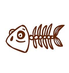 Hand drawn fish skeleton vector