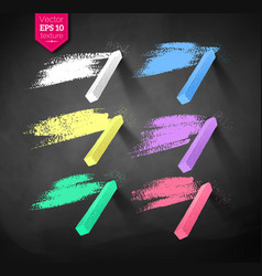 hand drawn strokes and pieces of colored chalks vector image