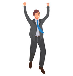 Happy businessman jumping vector