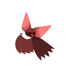 happy cartoon halloween bat character laughing vector image