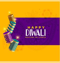 Happy diwali crackers celebration background vector