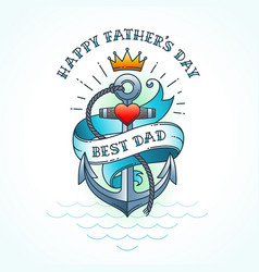 happy fathers day greeting card classic tattoo vector image