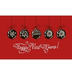 Happy new year hand lettering isolated on red vector image