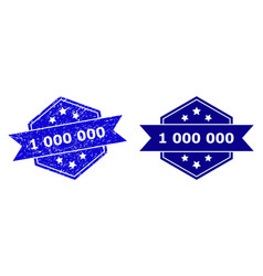 Hexagon 1 000 000 stamp with unclean texture vector
