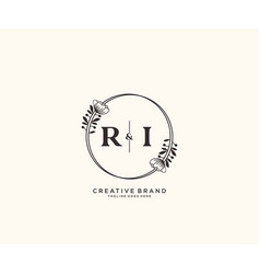Initial ri letters hand drawn feminine and floral vector