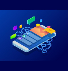 isometric user experience optimizing user vector image
