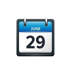 June 29 Calendar icon flat vector