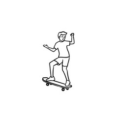 man skateboarding hand drawn outline doodle icon vector image