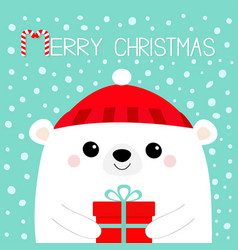 Merry christmas white polar bear head face vector