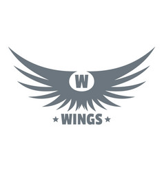 Modern wing logo simple gray style vector