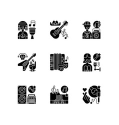 musical songs types black glyph icons set vector image
