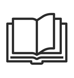 Open book line art icon education symbol vector