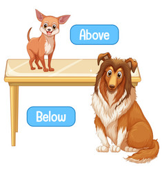 Opposite words with above and below vector