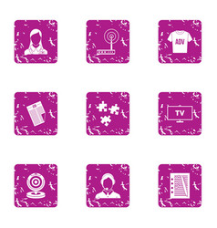Outdoor advertising icons set grunge style vector