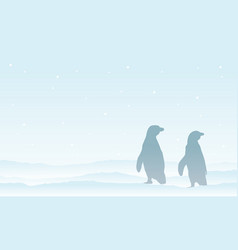 penguin on the snow silhouette landscape vector image