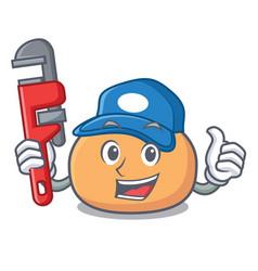 Plumber mochi mascot cartoon style vector