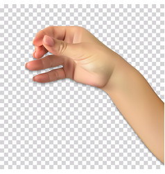realistic hand of man holds presumed glass of vector image