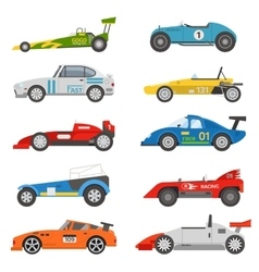 Retro sport car set vector