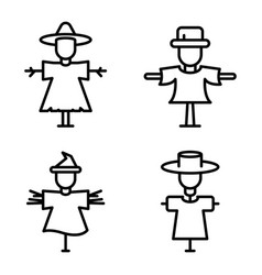 scarecrow icons set outline style vector image