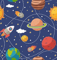Seamless pattern with planets and the sun vector