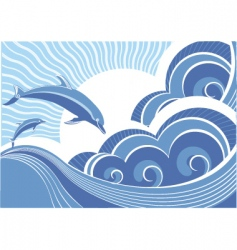 Seascape with dolphins vector
