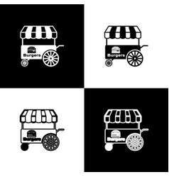 Set fast street food cart with awning icons vector
