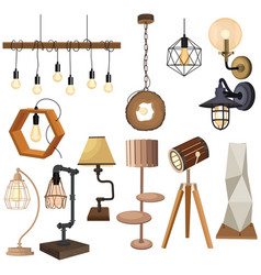 set lamps in loft style collection of vector image