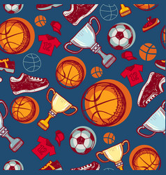 soccer and basketball seamless pattern vector image