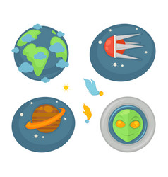 space elements and creature poster of four vector image