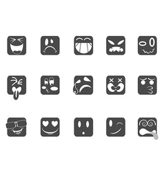 Square smiley face icons vector