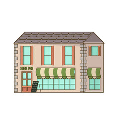 Stone home or cottage building vector