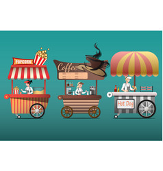 street coffee cart popcorn and hotdog shop with vector image