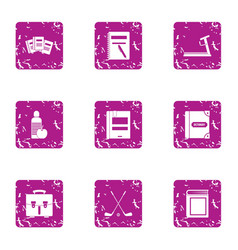 Study grant icons set grunge style vector